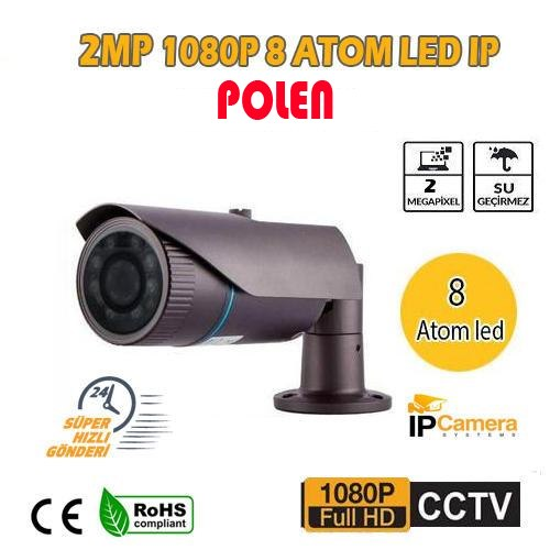 2 MP 1080P 8 ATOM LED 3.6 MM DIŞ MEKAN IP GÜVENLİK KAMERASI PL-8581